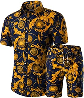 Mens Floral Button Down Shirt Shorts 2 Piece Set Outfits