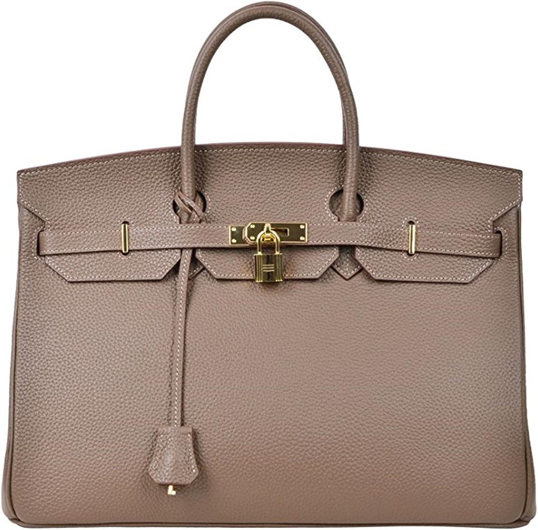 40cm Oversized Padlock Business Office Top Handle Handbags Dark Khaki