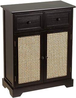 Mueble recibidor con 2 cajones y 2 Puertas Vintage Negro de Madera y Mimbre de 60x29x75 cm - LOLAhome