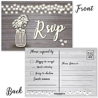 50 Rustic Blank RSVP Postcards - Lights, Jar & Flowers - 4 x6 Postcards - Great For Wedding RSVP Postcards, RSVP Reply Cards (Rustic Jar)