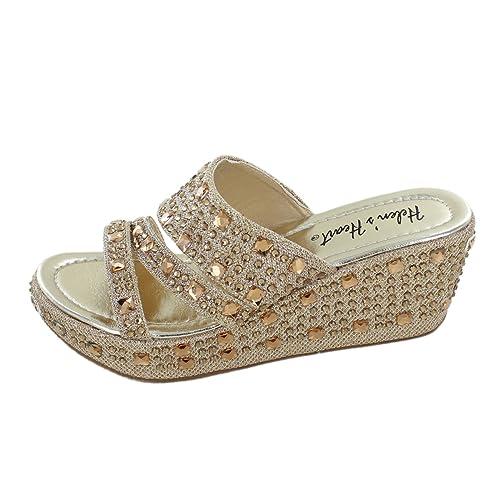 326e1731aca1 Women s Bling Sparkle Slide Wedge Sandal Gold Silver