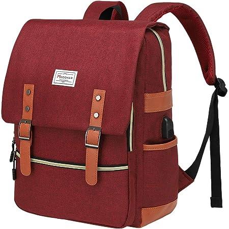Modoker Vintage Laptop Backpack with USB Charging Port, College School Backpack Book Bag for Ladies Girls, Tear Resistant Travel Rucksack Daypack Fits 15.6 Inch Computer in Red