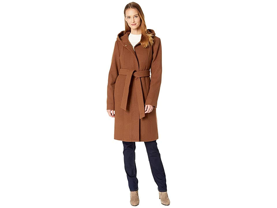 Vince Camuto Belted Hooded Wool Coat R8391 (Tobacco) Women