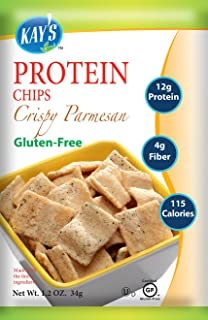 Kay's Naturals Protein Chips, Crispy Parmesan, Gluten-Free, Low Carbs, Low Fat, Diabetes Friendly All Natural Flavorings, 1.2 Ounce (Pack of 60)