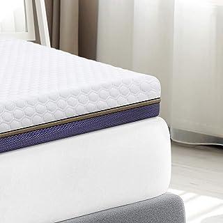BedStory Cubrecolchón de espuma de gel de 7,6 cm, 140 x 200 cm, 2 en 1, dureza H2/H3, para colchones con somier, funda hipoalergénica lavable