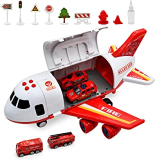 Yaker's collection Toy Airplane ,Car Toys Set with Smoke Sound Airplane and Large Play Mat, Toys for Boys Girls 3 4 ,Helicopter Toys Fire Truncks Aircraft Play Set with Light for 5 6 Kids Gift