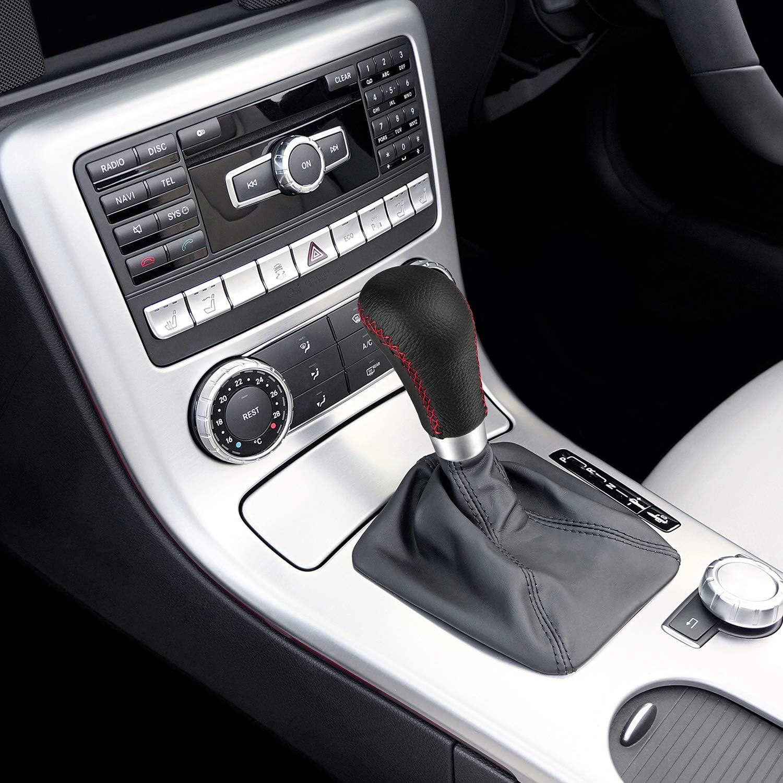 Semoss Universale Pomello del Cambio Auto in Vera Pelle con chiave e vite,Sostituzione Shift Manuale,nero e rosso line motivo
