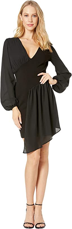 Knit Asymmetrical Drape Dress