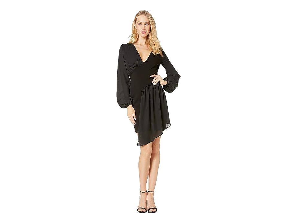 Bebe Knit Asymmetrical Drape Dress (Jet Black) Women