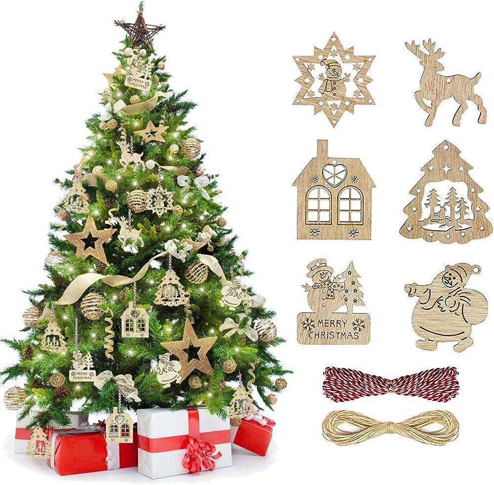 Tancuder 60 pezzi di ciondolo natale decorazioni legno con 6 modelli pendente TANCUDER