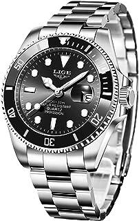 LIGE Men Watch Stainless Steel Military Watch Waterproof Sports Watch Analog Quartz Watch Fashion Business Casual Calendar...