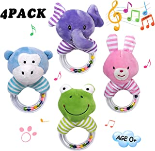 GRACEON Baby Soft Plush Stuffed Animal Rattles - Baby Toys for 3,6,9, 12 Months Newborn Gift,Infant Developmental Hand Grip Baby Toys, (4 Pack)