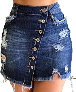 Women Denim Short Skirt - Button Front A-Line Casual Distressed Fray Jean Mini Skirts