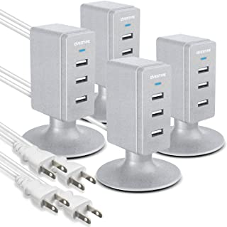 Multiple USB Charger (4 Pack), Overtime 3.1A 3-Port Desktop Charger Charging Station Multi Port Fast Wall Charger Hub Compatible with iPhone, iPad, Samsung, LG, Nexus, HTC and More – Silver