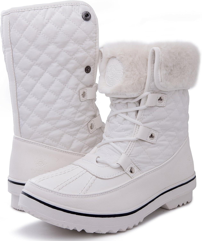 GLOBALWIN Women's 1632 Black Grey Snow Boots (10(M) US Women, 1706White)