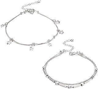 LOLIAS 2 Pcs Bracelets de Cheville pour Femmes Filles /Étoiles Boho Plage Pied Cha/îne Bande Double Couche D/ét/é Cheville Vintage Bijoux R/églable