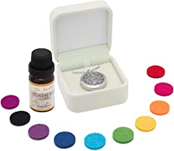 Aromatherapy Necklace Diffuser Pendant Set | 2 Piece Gift Set Ideal for all Aromatherapy uses | Diffuser Jewellery for Men, Women and Teenagers | 11 Coloured Reusable Felt Pads | Includes Lavender Oil
