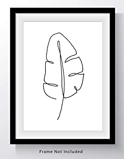 Tropical Banana Leaf Single Line Wall Art Print - 8x10 UNFRAMED, Minimalist Modern Black & White Decor - A Clean, Contemporary Look for Any Room