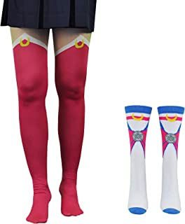 Sailor Moon Tights & Socks Cosplay (2 Pair) - (Women) Sailor Moon Gifts Boot Socks Leggings - Fits Shoe Size: 4-10 (Ladies)