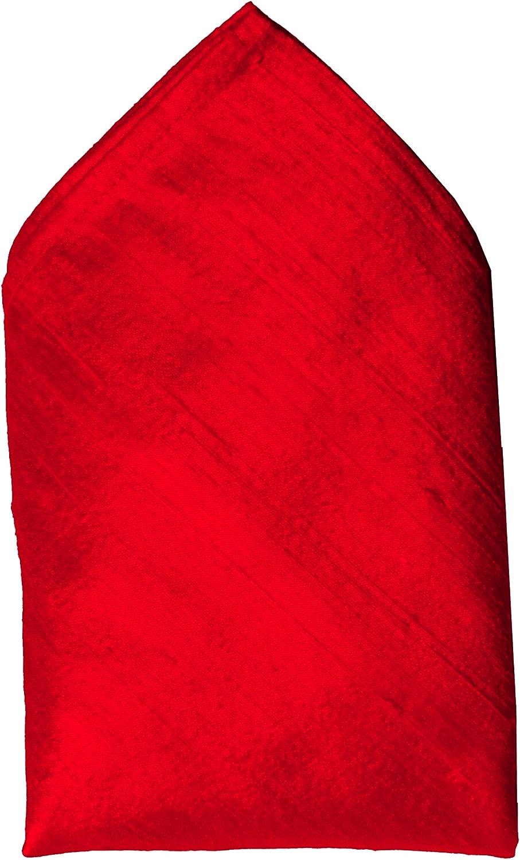 Bright Red Dupioni Silk Handkerchief - Full-Sized 16