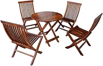 Driftingwood Sheesham Wood Round Coffee Tea Table Set of 4 Folding Chairs for Patio,Balcony,Garden and Outdoor | Honey Finish