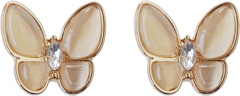 Elegant Beige Butterflies Invisible Clip On Stud Earrings Dangle for Women Crystal Non Pierced Comfortable Clip On Earrings Gold tone MiyabiGrace