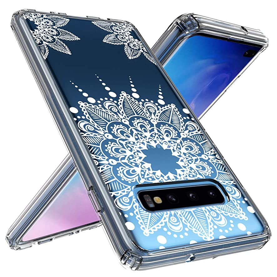 Galaxy S10 Plus Case, OUBA [Shock Absorbing] Anti-Scratch Shockproof Floral Lace Clear Slim Design Printed Hard Plastic + TPU Gel Bumper Protective Cover Case for Samsung Galaxy S10 Plus - White Lace b4070233019