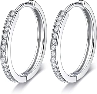 ac20374aa Lydreewam Women 925 Sterling Silver Hinged Hoop Earrings with 3A Cubic  Zirconia, Diameter 24mm