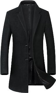 Guandoo Men's Wool Coats Single Breasted Trench Coat Winter Jacket