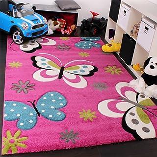 comprar comparacion Paco Home Alfombra Infantil - Diseño De Mariposas Verde Rojo Gris Negro Crema Rosa, tamaño:160x230 cm