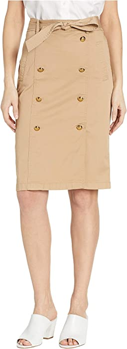 Belted Cotton Twill Skirt