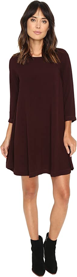 Modern Rayon 3/4 Sleeve Crew Neck Mini Dress
