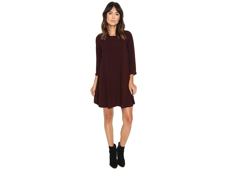 Michael Stars Modern Rayon 3/4 Sleeve Crew Neck Mini Dress (Rosewood) Women