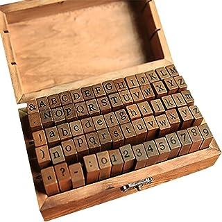 otutun Alphabet Stamp Set, 70 Pièces Alphabet Lettre Timbres Caoutchouc en Bois Ensemble Tampon Lettre Alphabet avec Boîte...