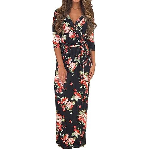 d13121e909b78 Voguegirl Women Casual Floral Printed Hight Waist Maxi Dresses
