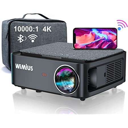 """5G WiFi Bluetooth 4K Projector, WiMiUS K1 Video Projector Native 1920x1080 LED Projector Support 4P/4D Keystone, Zoom 500"""" Screen PPT 150,000H Works with PC DVD PS5 Smartphones"""