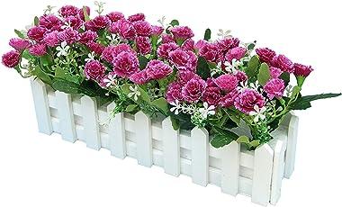 aoory Carnations Fleurs Artificielles Clôture Truqué Plantes Artificielles in Pot Simulation Potted Bonsai Faux Floral Artifi
