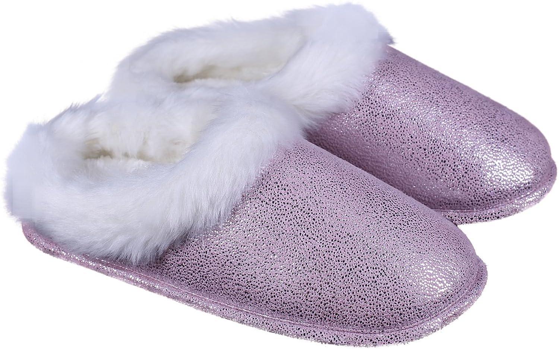 Ofoot Women and Men Winter Suede Printed Sequin Pattern Indoor Slippers Memory Foam Indoor shoes with TPR Sole