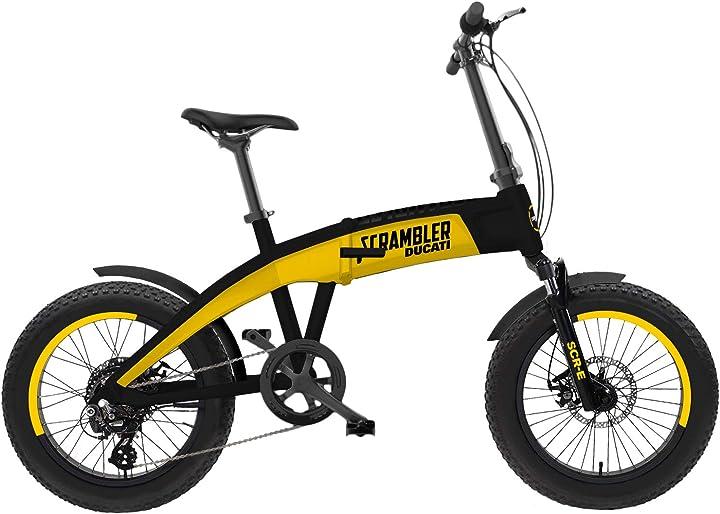 Bicicletta elettrica a pedalata assistita scrambler ducati bike scr-e con ruote fat unisex adulto B08CH72SKS