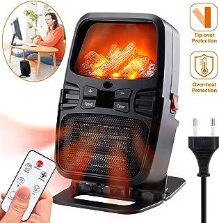KKTICK - Calefactor eléctrico con efecto de llama ajustable, calentamiento y temporizador rápido, protección contra sobrecalentamiento para dormitorio, salón, oficina