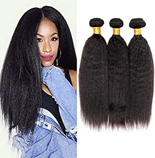 8A Yaki Hair Kinky Straight Brazilian Hair 3 Bundles 100% Unprocessed Virgin Sew in Human Hair Extensions Hair Weave Natural Color (10 12 14 Inch)