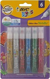 BIC Kids Metallic Colours Glitter Glue, 6 Pieces