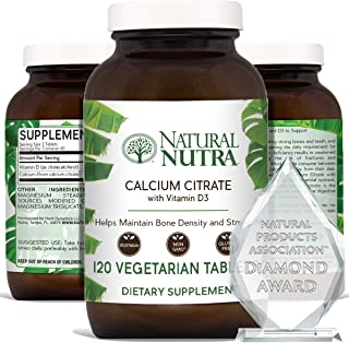 Natural Nutra Calcium Citrate with Vitamin D3, Supplement for Bone Strength, Health and Osteoporosis, 120 T...