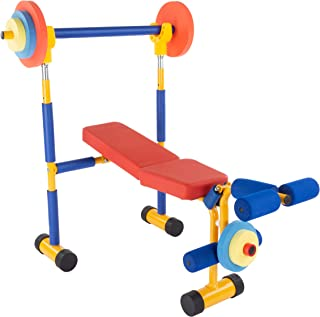 Hey! Play! Toy Bench and Leg Press-Children's Play Workout Equipment for Beginner Exercise, Weightlifting and Powerlifting - for Boys and Girls, Brown