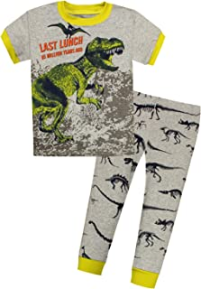 389fa21796 AMGLISE Kids Little Boys Tyrannosaurus Rex Short Pajamas 2 Piece Set 100%  Cotton Dinosaur Sleepwear