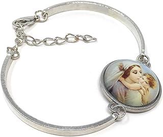 Blazing Autumn Mary Religious Glass Dome Bangle Madonna Charm Bracelet