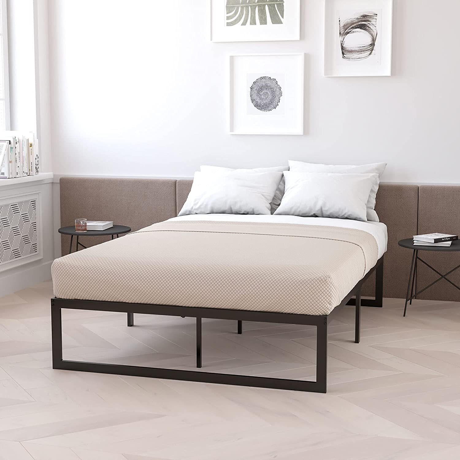sold out ADHW 14 Inch Twin Metal Platform Support No Slat Fashion Steel Frame Bed
