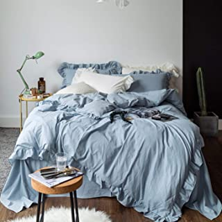 SUSYBAO 3 Pieces Vintage Ruffle Duvet Cover Set 100% Washed Cotton Queen Size Solid PowderBlue Shabby Chic Princess Bedding with Zipper Ties 1 Duvet Cover 2 Pillow Shams Hotel Quality Soft Breathable
