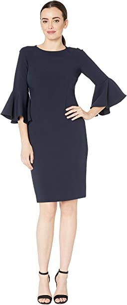 Bell Sleeve Stretch Crepe Sheath Dress