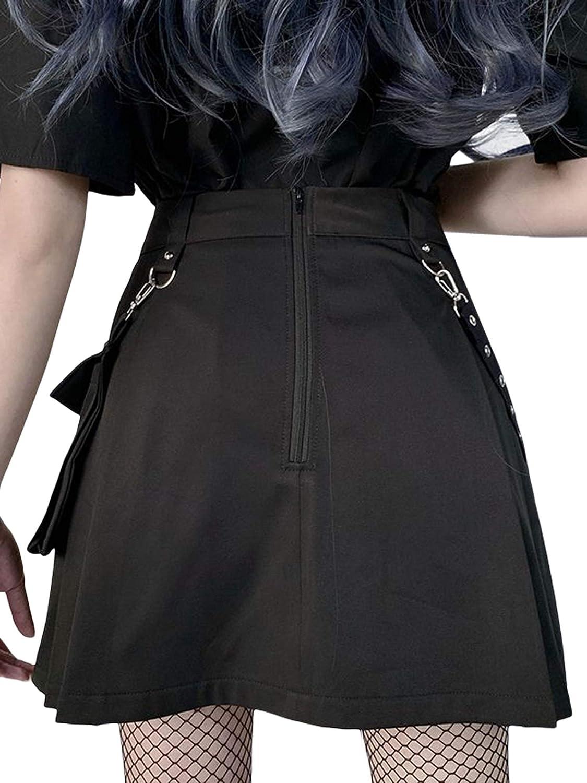 BLACKPING Women Girls Harajuku Gothic Mini Skirts Punk Dark Academia Aesthetic A-Line Skirt Y2K Streetwear Club Dress